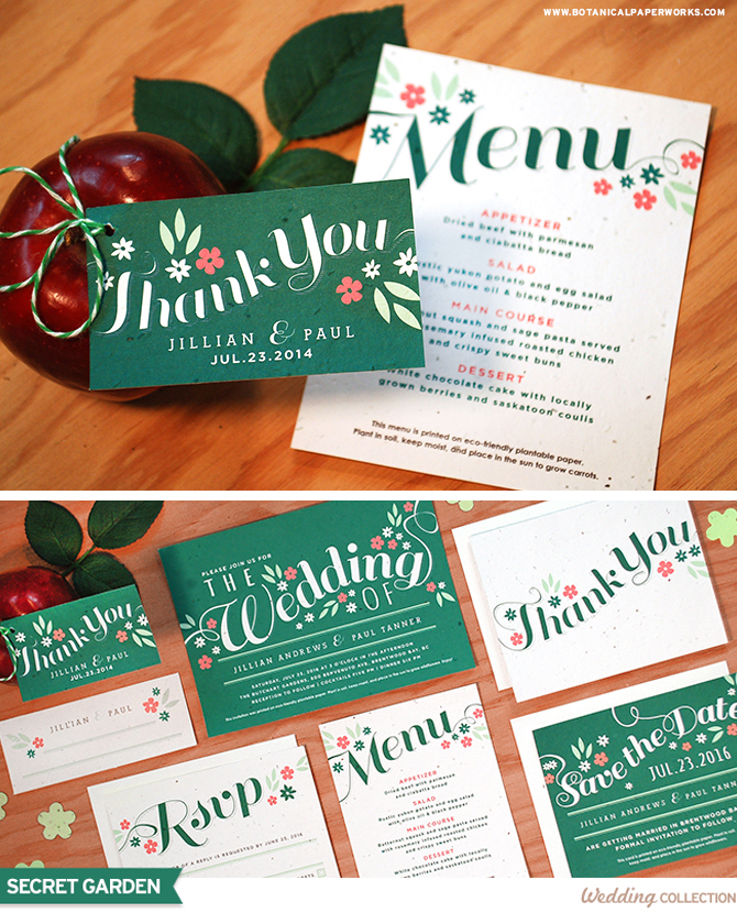 Full of life with a sort of Midsummer Night's Dream quality, this Seed Paper Wedding Invitations are perfect for a yard or garden celebration.