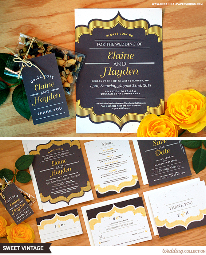 These charming Seed Paper Wedding Invitations are perfect for all types of weddings and comes in 6 color options to mix & match.
