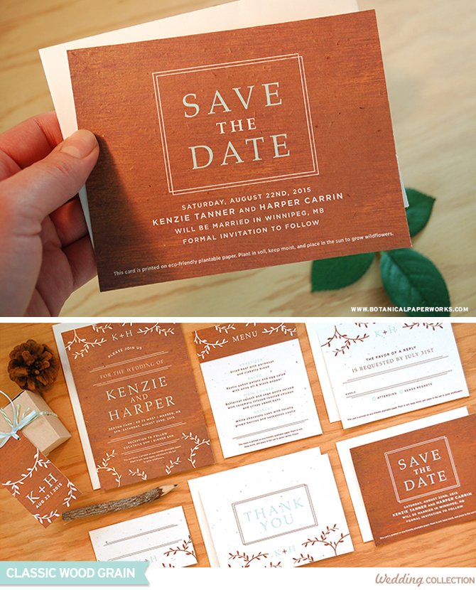 The Classic Wood Grain Seed Paper Wedding Invitations feature a textured background with filigree details.