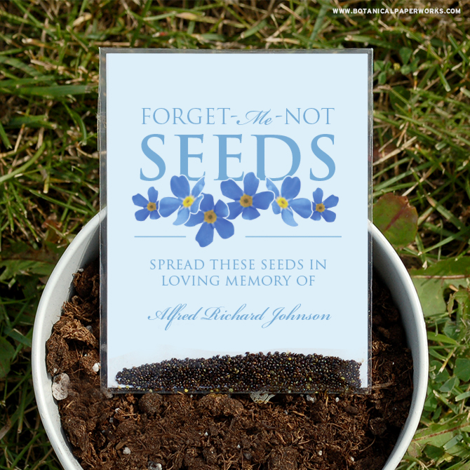 These Seed Packet Memorial Favors are perfect to offer friends and family at a green burial. They can take them home and spread the seeds in loving memory and grow beautiful flowers.