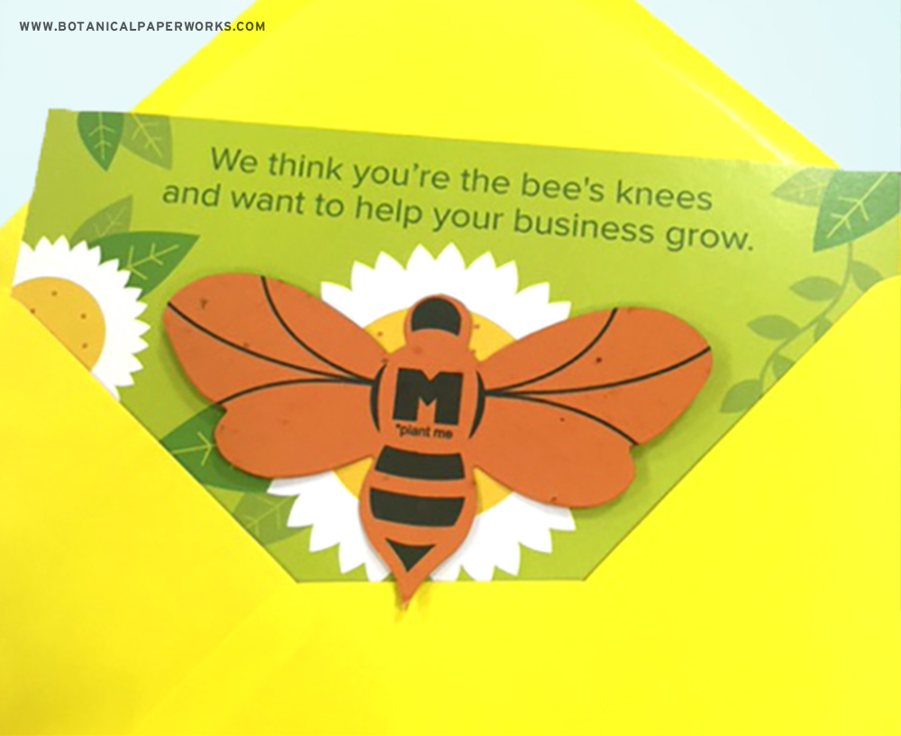 Seed paper bee shape mailer