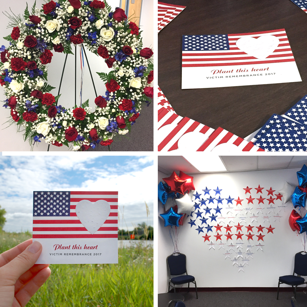 Patriotic memorial seed cards we used to offer families a gift that would last throughout the year at the Victim Remembrance event.