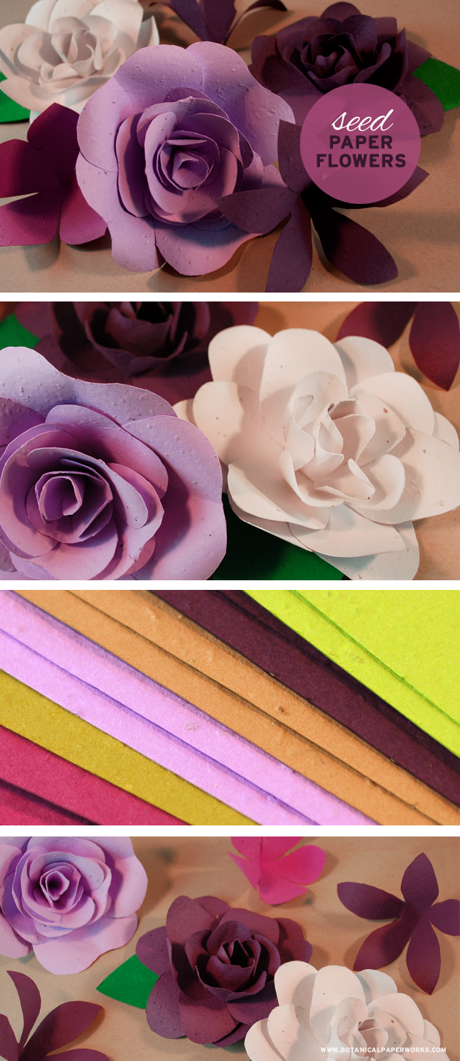 Get creative with these lovely paper flowers made with colorful seed paper you can actually plant after to grow REAL flowers.