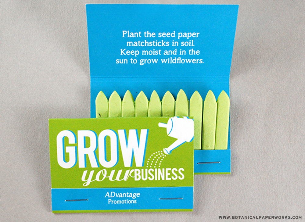Seed Paper Matchbooks are great self promotions for growing your business and clientele!