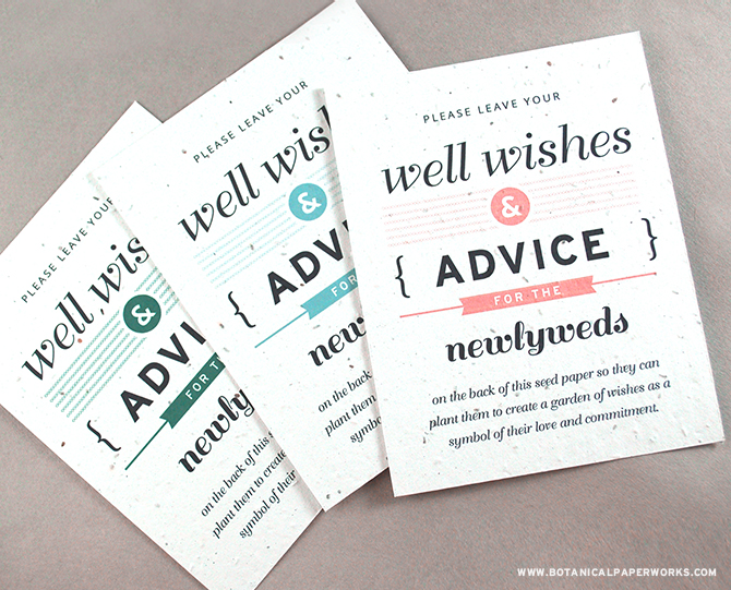 The NEW Advice and Well Wishes Seed Paper Wedding Favors are available in 11 stylish designer shades so you're sure to find one that matches your unique wedding style.