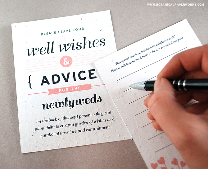 Wedding guests will love dispensing their marriage advice and positive thoughts onto these plantable Advice & Well Wishes Seed Paper Wedding Favors - especially when they know the newlyweds get to plant them to grow wildflowers!