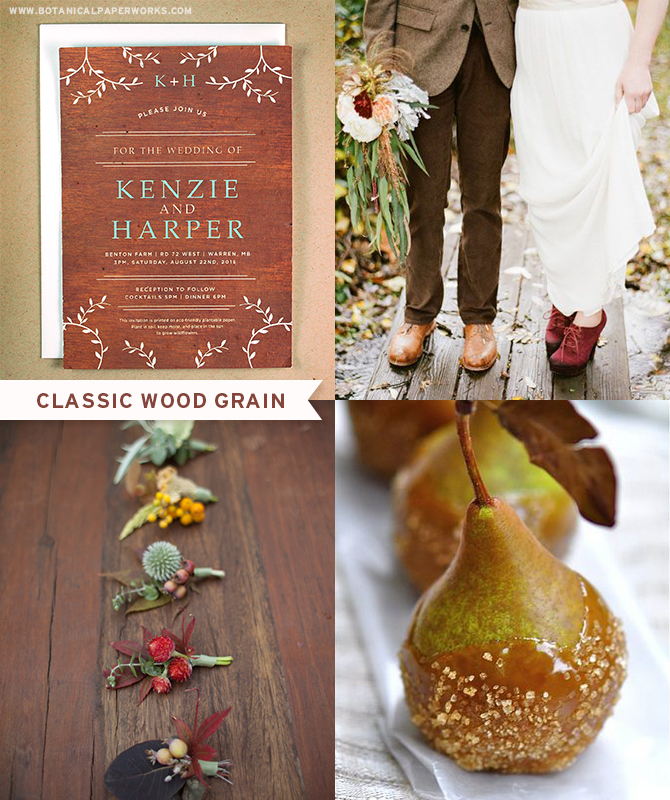 The rustic Classic Wood Grain Seed Paper Wedding Invitations are a striking addition to a rich autumn wedding color palette.