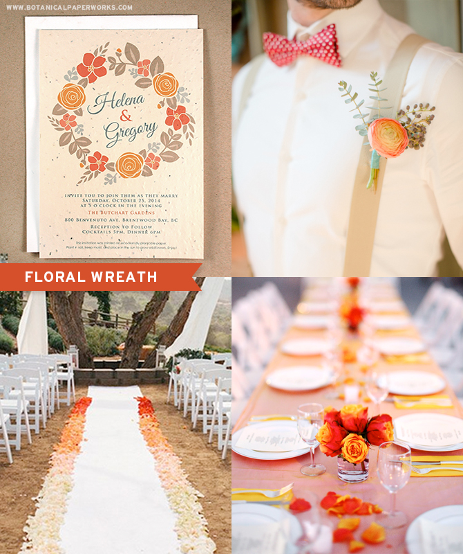 The Floral Wreath Seed Paper Wedding Invitations in the autumn color palette will help set the tone for a seasonal wedding.