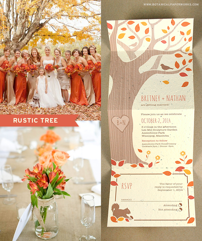 The Rustic Tree Seal and Send Seed Paper Wedding Invitations in autumn colors can refect the season and the setting of a colorful outdoor wedding.