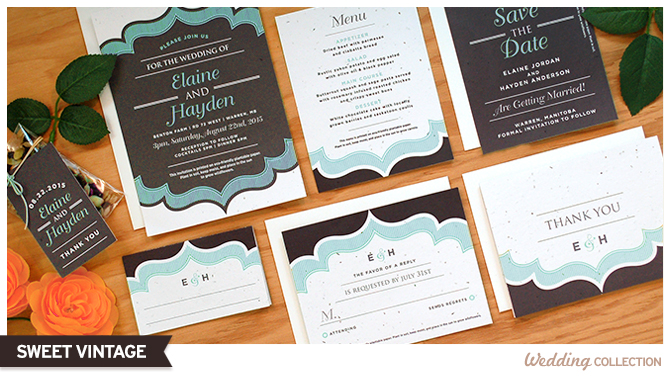 The Sweet Vintage Seed Paper Wedding Invitations are perfect for winter weddings.
