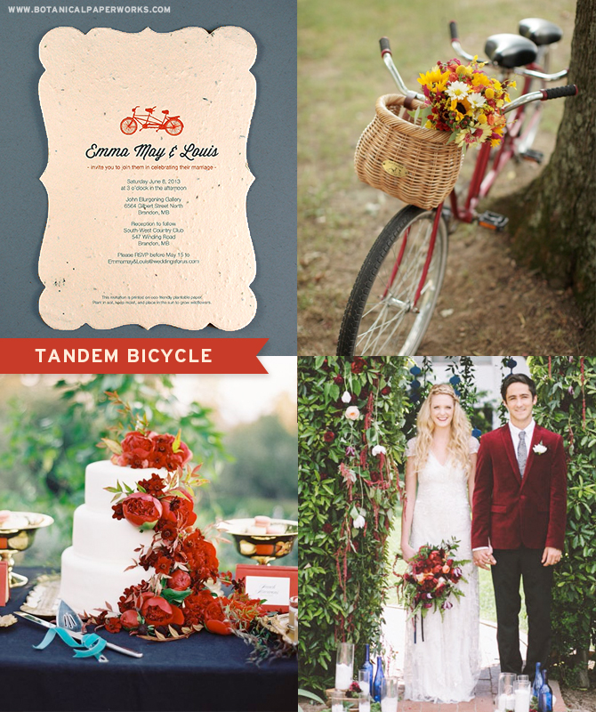 The Tandem Bicycle Seed Paper Wedding Invitations are vintage inspired and will add a classic and fun touch to your wedding.