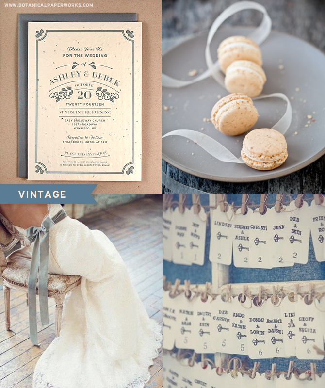 Elegant and Classic, yet modern, the Vintage Seed Paper Wedding Invitations would be the perfect touch to a vintage inspired wedding.