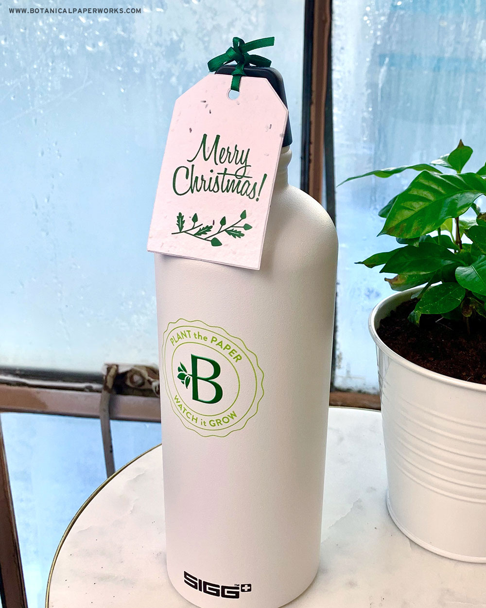 With a mission to give employees a gift that would reinforce the company's mission to reduce waste as well as create excitement around the company's new branding, Botanical PaperWorks shared branded Sigg water bottles.