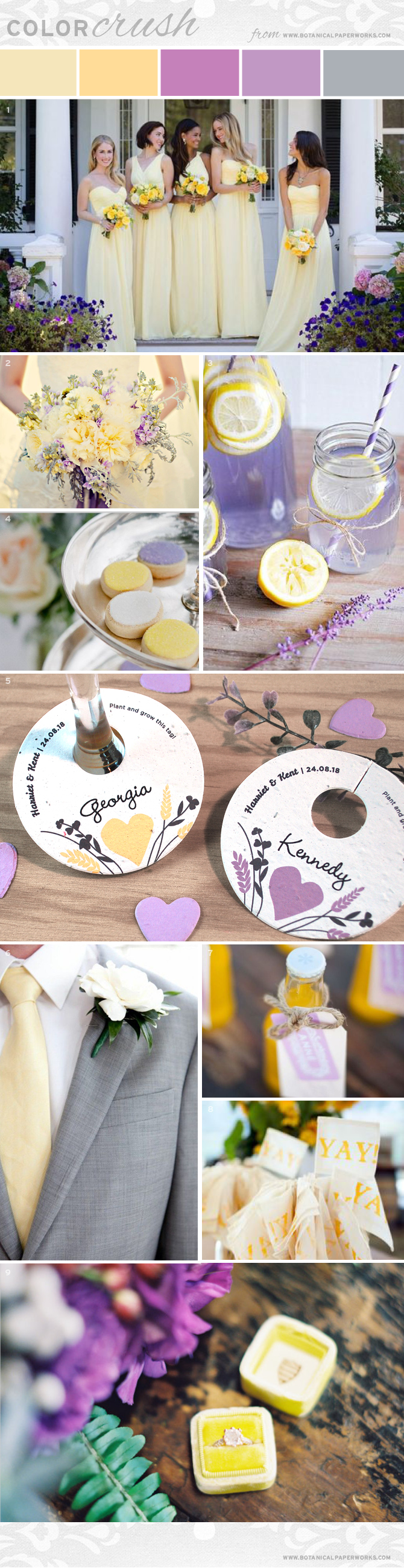 Soft yellow shades have the power to grab attention while making people feel happy, relaxed and optimistic. Since this shade is so cheerful and radiant, it's the perfect choice for summer weddings when paired with lilac and lavender. Take a look at our latest color crush to get inspired by this fabulous color palette! #weddings #brides #seedpaper #ecofriendly