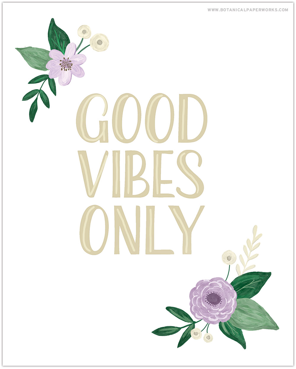 Download and print this free Good Vibes Only Spring Wall Art to decorate your home for the season.