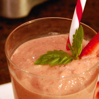 Strawberry Basil Smoothie made with fresh herbs grown from seed paper by Botanical PaperWorks