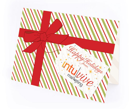 Classic Striped Gift Plantable Personalized Christmas Cards