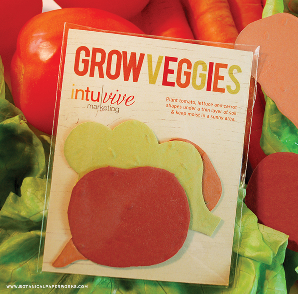 Learn why seed paper is perfect for fresh summer promotional products + get ideas like this Veggie Shape Pack.