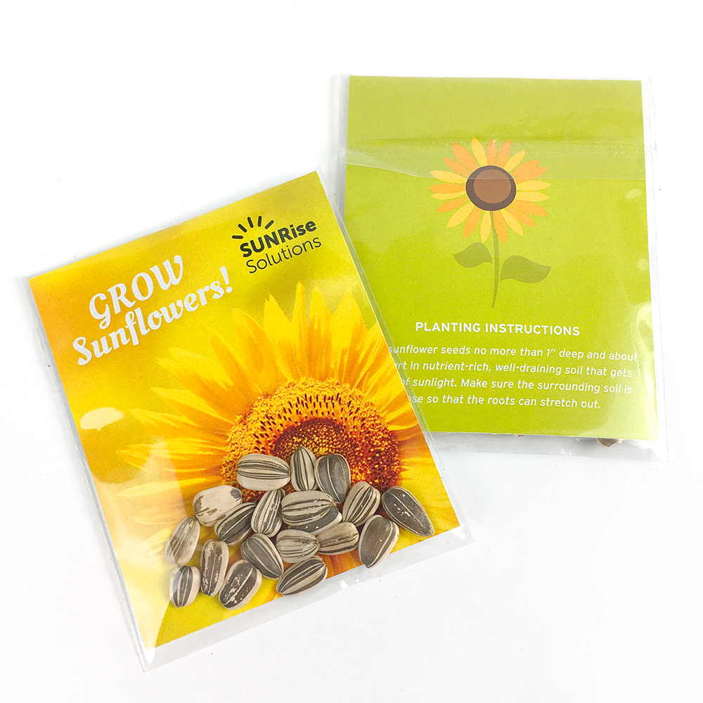 Sunflower Seed Packets are a perfect for bright and cheerful spring and summer promotions.