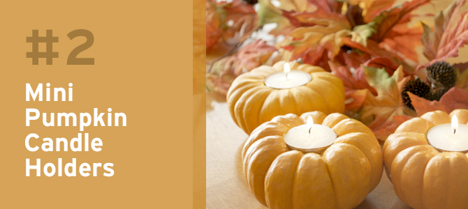 Cute and simple, these mini pumpkin candleholders make a great centerpiece