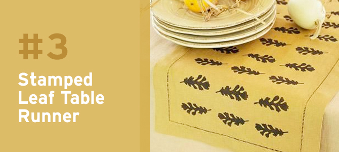 This stamped leaf table runner is an easy DIY that will make a statement.