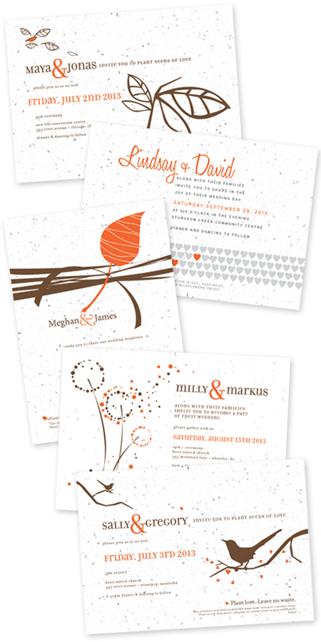 tangerine plantable wedding invitations