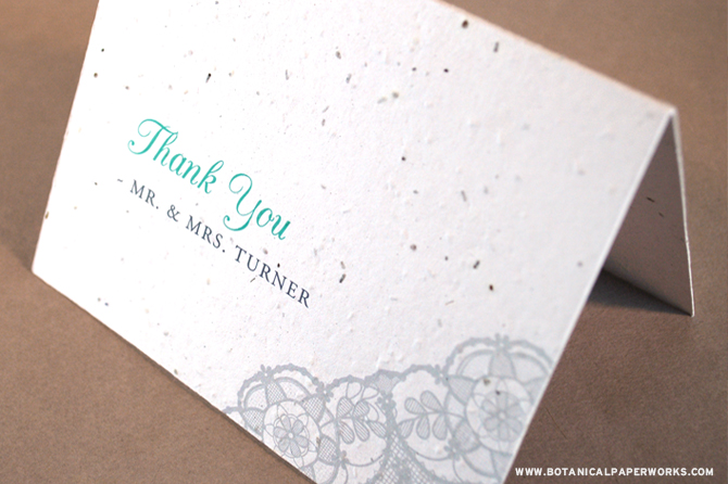 Lovely lace detailing makes this seed card a classic that is perect for any occasion.