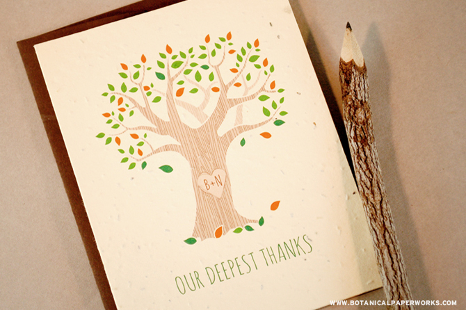 This rustic thank you card features your initials etched into a heart on the side of a tree.