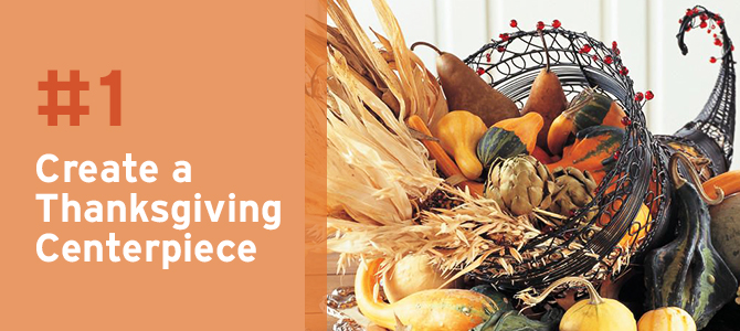 Brimming with festive fall colours like brown, orange, mustard and earthy greens, creating a Thanksgiving centerpiece like this perfect cornucopia is a fun tradition to do together as a family.
