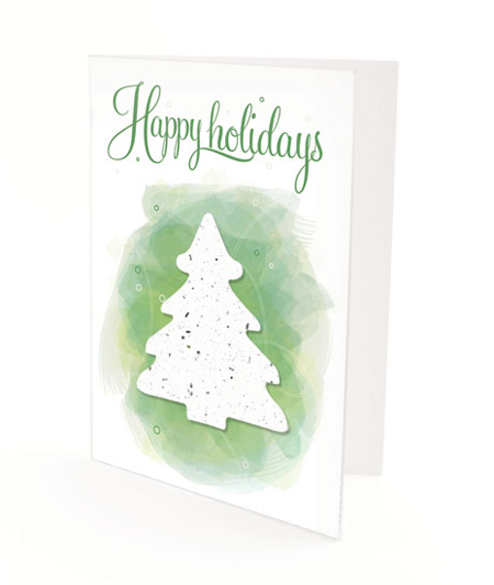 Evergreen Tree Plantable Personalized Christmas Cards