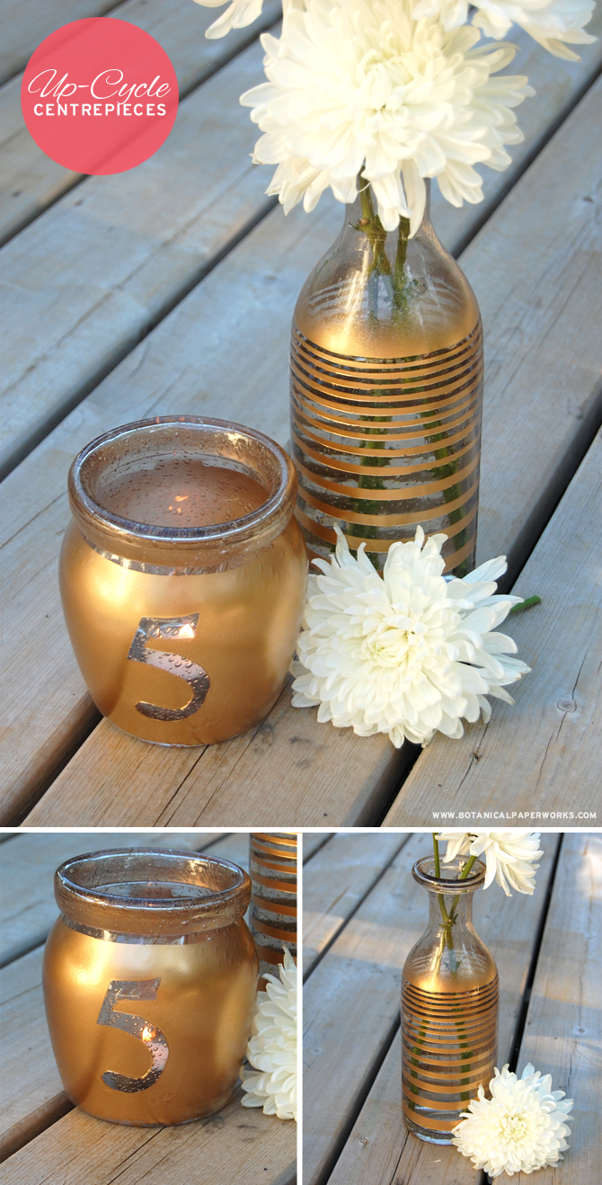 Awesome Up-Cycle Craft: Here's how to simply create gorgeous centrepiece for your next wedding or event with objects found around your house.