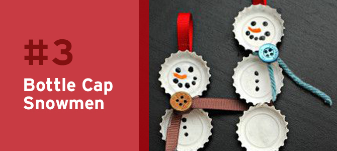 Instead of tossing your old bottle caps, a great upcycle idea is to collect them so you and your kids can create these adorable snowmen Christmas ornaments!