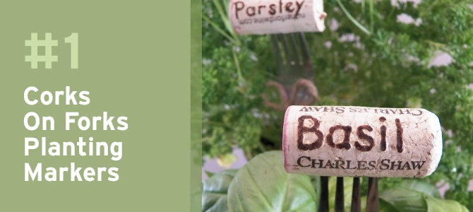 For all the wine lovers out there, these corks on old forks are a super cute way to mark your plants.