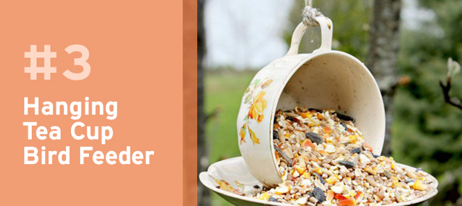 Vintage tea cups make great bird feeders and are a unique way to dress up any garden.