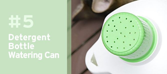 Make your own own watering can with an old detergent bottle.