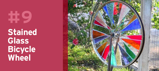 An old bike wheel can be turned into a stained glass garden spinner.