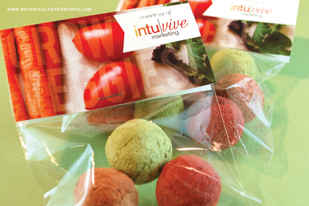 The Veggie Seed Bombs Cellopacks are the most unique and eco-friendly branding opportunity for your business.