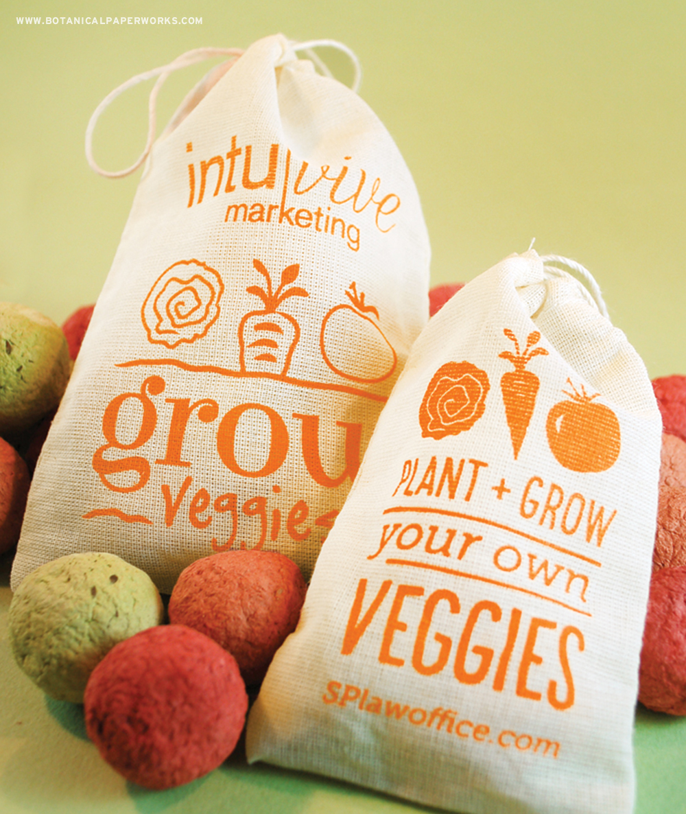 The Veggie Seed Bombs Muslin Bags will wow your clients and customers when they grow carrots, lettuce and tomatoes!