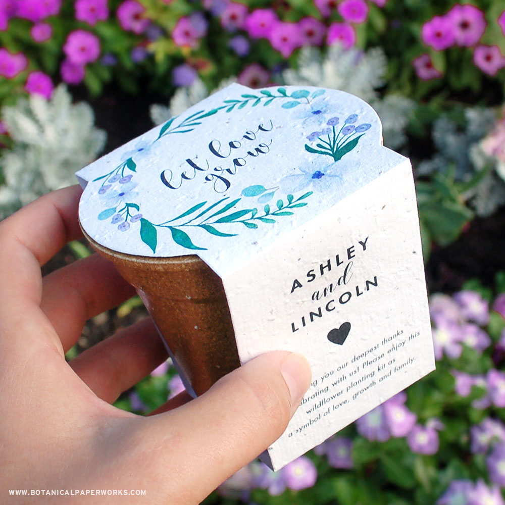 Each biodegradable Planting Kit Wedding Favor includes everything needed to grow wildflowers with zero-waste left behind.