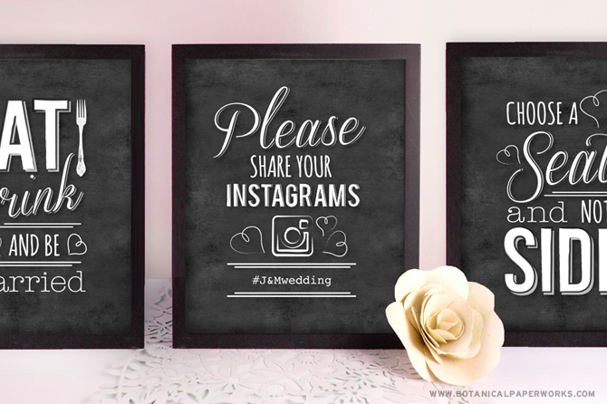 We created three beautiful chalkboard wedding signs featuring elegant white designs and romantic typography to simply print and frame for your big day.