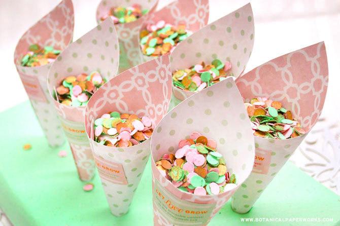 A perfect make-ahead detail for your wedding, these Wedding Confetti Cones are a unique alternative to the traditional rice or flower petal tossing after you walk down the aisle as a married couple. Simply print the design, form it into the shape of a cone and secure with tape or glue - it couldn't be easier!