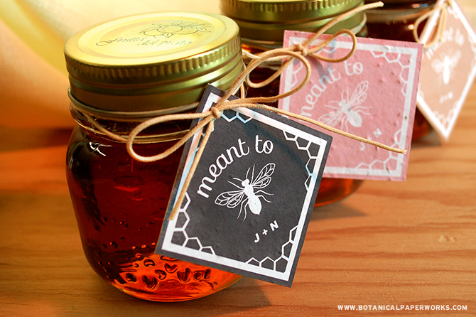 If you and your fiancé are an eco-conscious couple and are hoping to incorporate that into your big day, choosing local honey as your wedding favors is an idea your guests will love. And if you're looking for a charming favor tag to accompany your sweet treats, these black, pink and latte free printables are the perfect choice.
