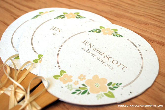 The perfect DIY project for a crafty bride, these Personalized Paper Fans are easy to make and will add customized style and unique touches to your wedding details while helping guests beat the heat.