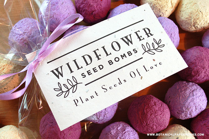 Seed bombs are one of the best wedding favors you can gift your guests; they're beautiful, unique, eco-friendly and totally fun! If you choose to give your guests these special products that blossom into wildflowers, you'll love attaching these beautifully rustic favor tags to make them extra special.