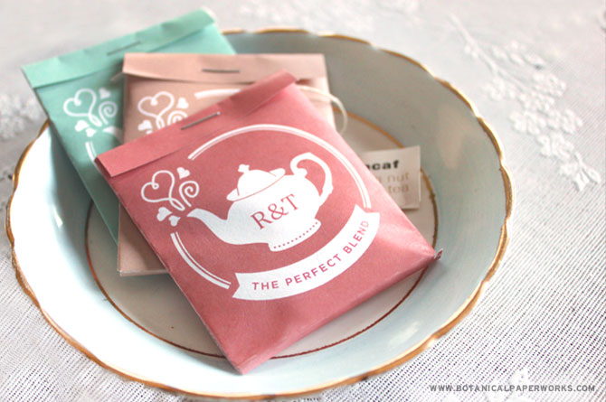 Available in mint, pink and latte, you can customize these packages to include your initials so they're as unique as you and your spouse-to-be. Easy to assemble, all you have to worry about is deciding what kind of tea to include inside!