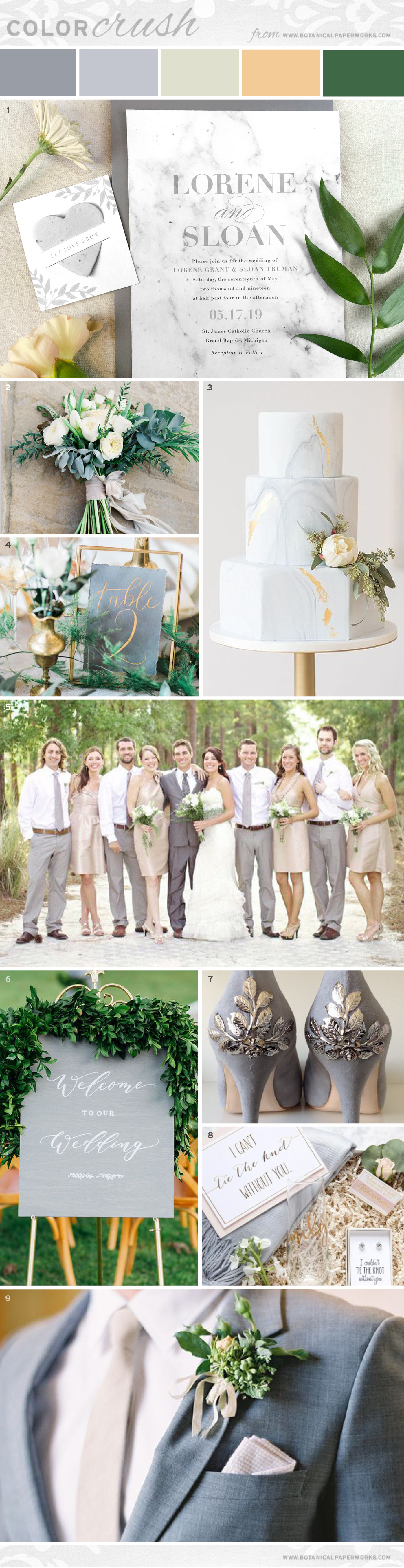 This subtle and elegant wedding inspiration features grey, greenery, ivory and gold accents.