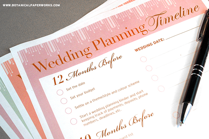 This one year Wedding Planning Timeline will guide you through all the things to do and when to do them. Get it with the Wedding Planning Binder!