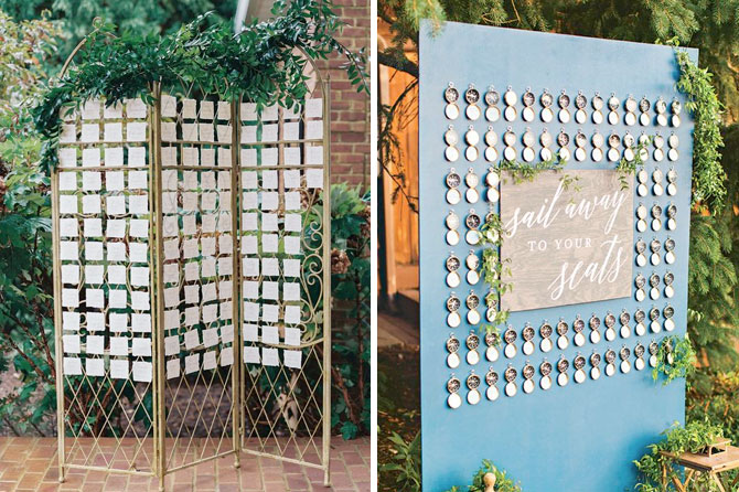 Statement place cards and seating charts are one of today's top wedding trends found in this inspiration roundup.