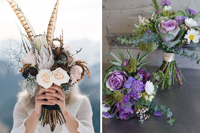 Non-traditional elements in the bouquet are one of today's top wedding trends found in this inspiration roundup.