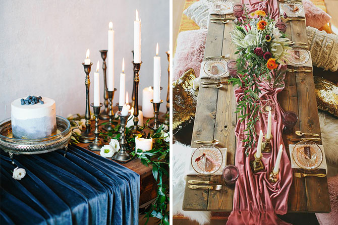 Velvet tablescapes are one of today's top wedding trends found in this inspiration roundup.